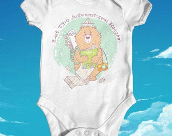 Let The Adventure Begin Baby Bodysuit | Cute Baby Clothes | Cute Baby Outfit | Baby Shower Gift | Animal Baby Bodysuit | Baby Bear Explorer