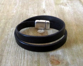 Mens leather bracelet, Double round magnetic silver plated clasp