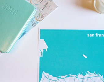 SF City map, travel print, wall art {I left my heart} in San Francisco, USA