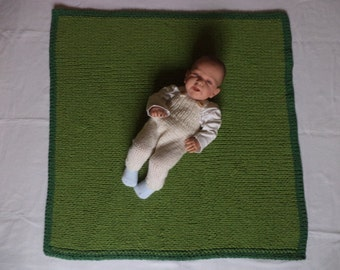 Knitted baby blanket 90 x 90 cm merino wool blanket wool Green