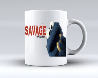 The cookie Monster Savage Ceramic Mug gift Coffee Tea Mug Gifts for Him Gifts for Her