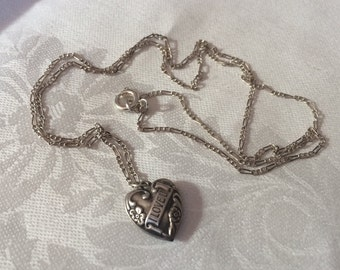 "Vintage Sterling Heart on Silver Chain, ""I LOVE U"""