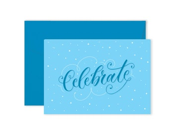 Celebrate (Blue) - Birthday Card
