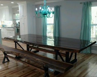10' Walnut Dining table with turquoise inlay