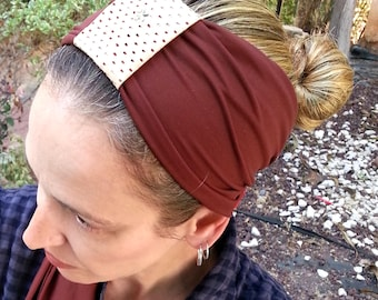 Brown Headband with a moving loop,Beautiful and elegant,Stretched fabric,Chemo hat,Snood,Hair ribbon,Jewish,Israel,Red lace,Bandana,Turban