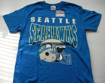 Vintage Seattle Seahawks NFL football  t shirt by Garan made in USA script and helmet new with tags !!