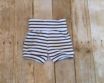 Baby shorts, striped shorts, toddler shorts, navy and white shorts