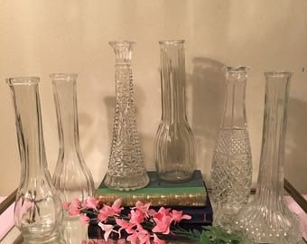 Set of 6 Clear Glass Vases