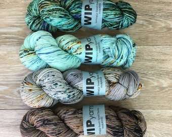 Stoney Speckle Fade Set - FOUR Skein Sock or Fingering Weight Yarn Set, Shawl or Sweater Kit, SWMN 4-Ply sockROCK