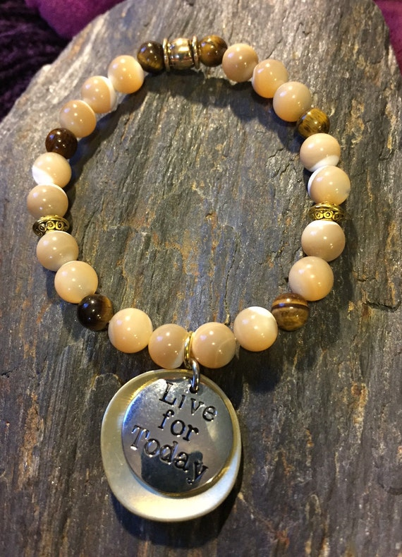 Natural Mother of Pearl and Tigers Eye ~ Live for Today Charm Bracelet