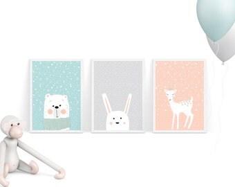 Printable Nursery Art set of 3 Bear, Rabbit,Fawn (Baby Deer) in Pastel Colors / Baby room Wall art Child room nursery decor INSTANT DOWNLOAD