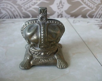 Vintage Retro Brass Queen Elizabeth II Coronation Crown Money Box