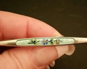 Vintage Art Deco Guilloche Enamel Flower Brooch