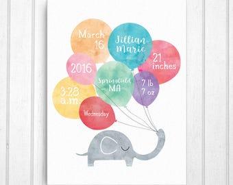 Birth Announcement Canvas, Birth Stats Canvas, Nursery Art, Nursery Decor, Personalized Baby Gift, Newborn Stats Canvas