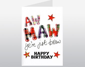 Tartan Words Maw Birthday Card WWTW26