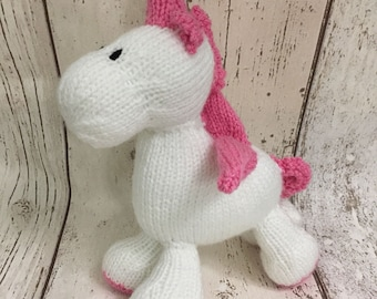 Hand Knitted CE tested Stuffed Unicorn Toy