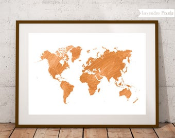 Gold world map print Gold foil world map Golden map world Traveller gift World printable map Teen room decor World map posters Gift for her
