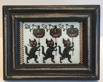 Halloween hand stitched and framed cross stitch