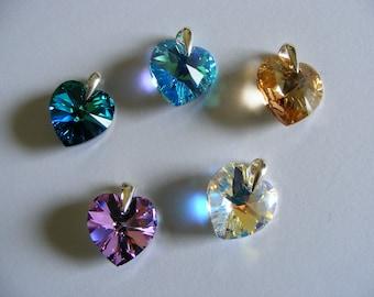 Pendant-Heart Swarovski Crystal-Sterling Silver- Pendant-Gift-Girlfriend-Mom-married-birthday-Swarovski Elements-Heart pendant