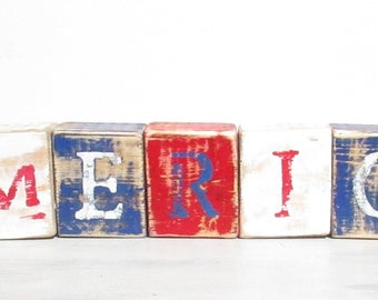 AMERICA Rustic Wood Blocks-AMERICA Home Decor-Fourth of July Decor-Americana Decor