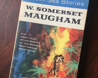 Vintage Book South Sea Stories by W. Somerset Maugham 1950s paperback Leo Manslo Cover Art, tropics islands English Colonization