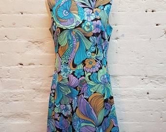 Vintage 1960s Victor Roberts floral dress UK size 8/10