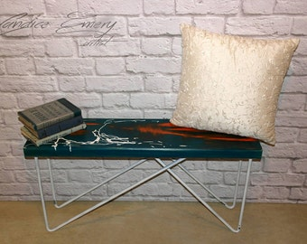 Entryway bench, hairpin bench, coffee table, hallway, end table, blue, orange, abstract art, hairpin table, hairpin legs, home decor, wood
