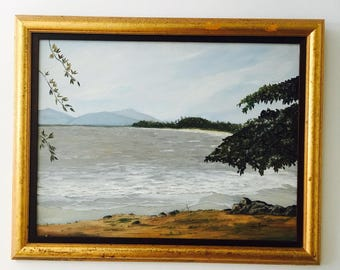 Vintage original Painting Ocean beach scene Australia