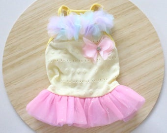 Yellow Tulle dress / Bunny dress / Dress for rabbits and small pets