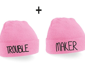 Troublemaker Couple Beanie Mütze -  Pink,Beanies,Friends,Gift,Best friends,love,friends gift,birthday gift