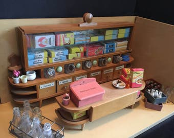 German MCM Vintage Grocery Store Room Box | Miniature Dollhouse Mid Century Modern General Store Diorama | 1950-1960s Germany