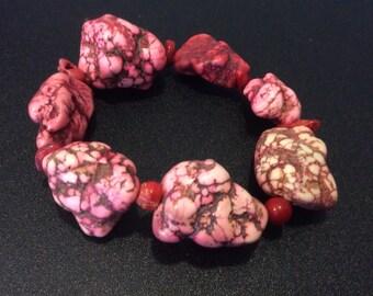 Natural Pink Coral Bracelet // Gift for Her
