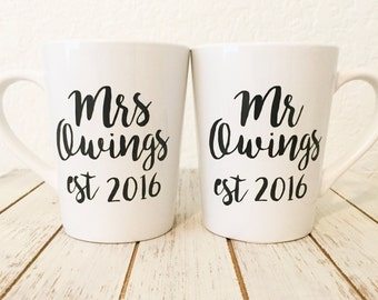 Newly Wed Coffee Mug Gift - Wedding Gifts For Couple - Gifts For Anniversary - Mr Mrs Mugs - Wedding Presents - Bridal Shower Gift