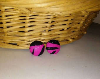 Pink Zebra Print, Button Earrings