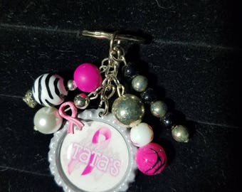Beaded breast cancer awareness keychain