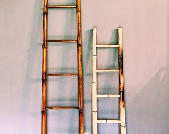 Vintage Bamboo Blanket Ladder / Towel Rack Ladder / Decorative Ladder