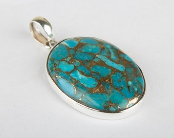 Blue Copper Turquoise Pendant, Turquoise Pendant, Sterling Silver Pendant, Turquoise Silver Pendant, Turquoise Jewelry, Blue Stone Pendant