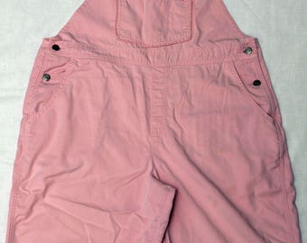 Vintage Pink Bib Overall Shorts Adult Womens Size Petite Large Gardening Bibs