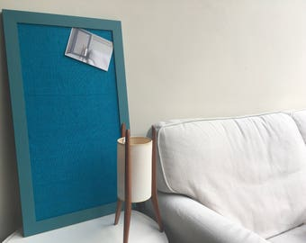 Large pin board. Hessian bulletin board. Hessian memo board. Hessian message board. Teal pin board. Teal cork board. Fabric notice board.