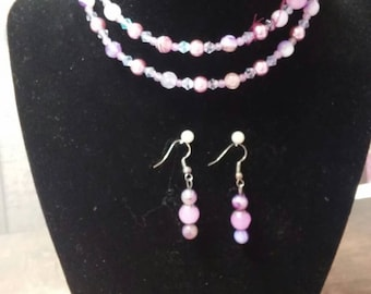 """24"""" Jade and Agate Necklace and earring set"""
