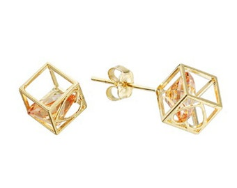 14k Solid Yellow Gold Stud Earrings Peach 7803 Charming Square Design Lovely