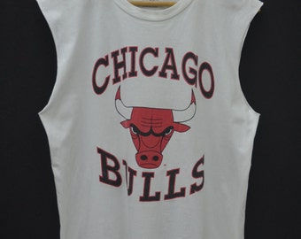 CHICAGO BULLS Shirt Vintage 90's Chicago Bulls Made In USA Basketball Sleeveless Tee T Shirt Size L