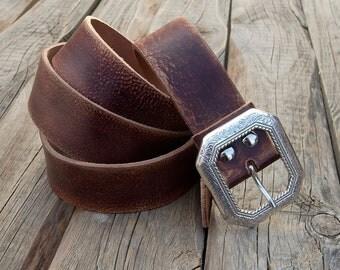 Men's leather belt, Women jeans belt, Buffalo leather belt, Dark brown leather belt, Jeans belt, Rustic belt, Antiqued leather belt