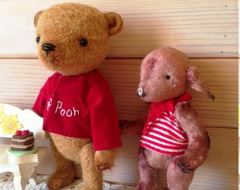 Bear  Winnie the Pooh and his friend Piglet.