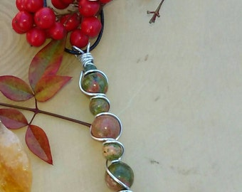 Unakite Wire Wrap Necklace (12 and 8 mm Stones)