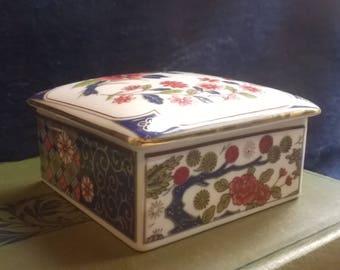 Trinket Dish, Ring Dish, Pot, Box, Imari Style Japanese China Dish, Decorative China Dish, Home Decor, Jewelry Storage