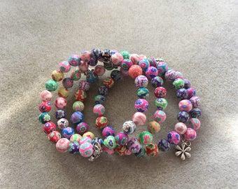 Pretty Pastel Beaded Memory Wire Wrap Bracelet