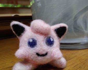 Needle felted Jiggly puff pokemon