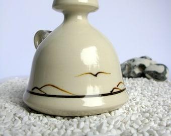 Mid Century / Sweden / Ceramic Candleholder / Artist Signed / Candlestick / Modernist Art Pottery / Nordic / Rustic / Seagulls / Birds / 60s