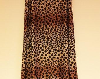 Vintage Leopard Print A Line Full Length Skirt size 14